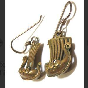 Vintage Sterling Silver Vikings Ships Earrings